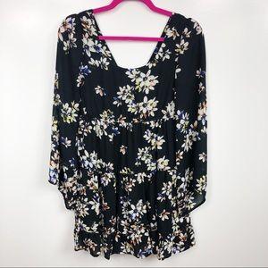 Socialite Boho Floral 3/4 Bell Sleeve Dress CutOut